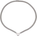 Estate Jewelry:Necklaces, Diamond, White Gold Necklace  The necklace fea...