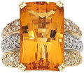 Estate Jewelry:Rings, Citrine, Diamond, Gold Ring, Bellarri The ring...