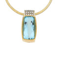 Estate Jewelry:Pendants and Lockets, Aquamarine, Diamond, Gold Pendant-Necklace  Th...