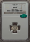 Three Cent Silver: , 1852 3CS MS65 NGC. CAC. NGC Census: (193/108). PCGS Population:(221/138). MS65. Mintage 18,663,500. .