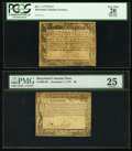 Colonial Notes, Maryland December 7, 1775 $1/3 PCGS Apparent Very Fine 20..Maryland December 7, 1775 $6 PMG Very Fine 25.. ... (Total: 2notes)