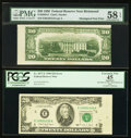 Error Notes:Miscellaneous Errors, Misaligned Back Printing Error Fr. 2059-E $20 1950 Federal Reserve Note. PMG Choice About Unc 58 EPQ;. Board Break on Face... (Total: 2 notes)