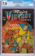 """Golden Age (1938-1955):Superhero, Major Victory Comics #3 Davis Crippen (""""D"""" Copy) Pedigree (H. Clay Glover Company, 1945) CGC FN/VF 7.0 Off-white pages...."""