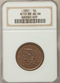 Large Cents, 1851 1C N-13, R.1, MS64 Brown NGC. NGC Census: (3/4). PCGS Population: (2/0). MS64. Mintage 9,889,707. ...