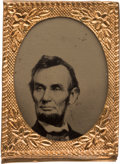 Political:Ferrotypes / Photo Badges (pre-1896), Abraham Lincoln: Gem Ferrotype Badge in Choice Condition....
