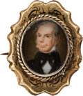 Political:Ferrotypes / Photo Badges (pre-1896), Henry Clay: Superb 14K Gold Brooch with Hand-Painted Portrait on Porcelain....