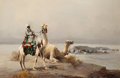 Fine Art - Painting, European, Continental School (20th Century). Orientalist Desert Scene. Oil on canvasboard. 24 x 36 inches (61.0 x 91.4 cm). Signed...