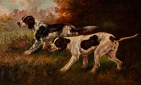 Thomas Dalton Beaumont (American, 1867-1930) Two Hunting Dogs Oil on canvas 22-1/4 x 36-1/8 inche