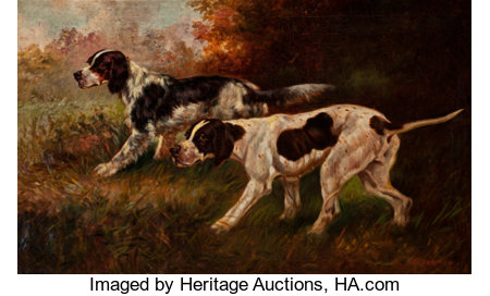 Thomas Dalton Beaumont (American, 1867-1930) Two Hunting Dogs Oil on canvas 22-1/4 x 36-1/8 inches (56.5 x 91.8 cm) ...