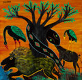 African, Simon George Mpata (Tanzanian, 1942-1984). Untitled (Tree with animals). Oil on board. 24 x 23-5/8 inches (61.0 x 60.0 c...