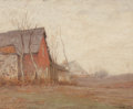 Fine Art - Painting, American, George Matthew Bruestle (American, 1872-1939). Red Barn,1905. Oil on panel. 16 x 18-3/4 inches (40.6 x 47.6 cm). Signed...