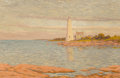 Fine Art - Painting, American, William Anderson Coffin (American, 1855-1926). New LondonLighthouse. Oil on canvas. 20 x 30 inches (50.8 x 76.2 cm).Si...