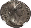 Ancients:Roman Imperial, Ancients: Diva Sabina, wife of Hadrian (died AD 136/7). AR denarius(3.62 gm). NGC Choice XF 5/5 - 4/5, Fine Style. ...