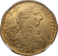 Chile, Chile: Charles IV gold 8 Escudos 1804 So-FJ UNC Details (ReverseDamage, Cleaned) NGC,...