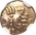 Ancients: BRITAIN. Catuvellauni. Tasciovanus (ca. 20 BC-AD 10). AV quarter-stater (1.34 gm). NGC Choice VF 3/5 - 4/5