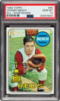 Baseball Cards:Singles (1960-1969), 1969 Topps Johnny Bench #95 PSA Gem Mint 10.. ...