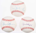 Autographs:Baseballs, Oakland Athletics Hall of Fame Closers Lot of 3 Singed Baseballs:Eckersley and Fingers (2x).. ...