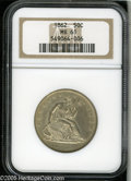 Seated Half Dollars: , 1862 50C MS61 NGC. A boldly struck Half Dollar with extensiveluster and light lemon-gold color in the fields. The fields h...