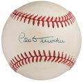 Autographs:Baseballs, Leo Durocher Single Signed Baseball, PSA Near Mint 7. . ...