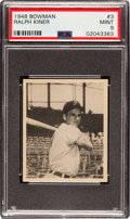 Baseball Cards:Singles (1940-1949), 1948 Bowman Ralph Kiner #3 PSA Mint 9 - Only One Higher.. ...