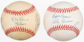 Autographs:Baseballs, New York Greats Multi-Signed Baseball Lot of 2. With Thomson,Berra, Larsen, Slaughter, and others.. ...