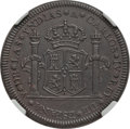 Mexico, Mexico: Charles IV bronze Proclamation Medallic 4 Reales 1789 AU55Brown NGC,...