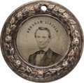 Political:Ferrotypes / Photo Badges (pre-1896), Abraham Lincoln: Superior Example of Back-to-Back Medium Size Doughnut Ferrotype. ...