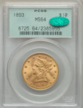 Liberty Eagles, 1893 $10 MS64 PCGS. CAC....