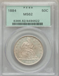 Seated Half Dollars, 1884 50C Repunched Date, WB-102, MS62 PCGS....