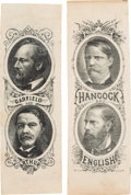 Political:Ribbons & Badges, Hancock & English and Garfield & Arthur: Matched Pair of Bold Large 1880 Campaign Ribbons. ... (Total: 2 Items)