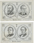 Political:Small Paper (pre-1896), Hayes & Wheeler and Tilden & Hendricks: Unusual Coated Stock Jugate Cards.... (Total: 2 Items)