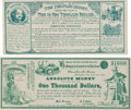 """Political:Small Miscellaneous (pre-1896), Greenback Labor Party: Two 1880 Satirical Currency-style """"Notes"""".... (Total: 2 Items)"""