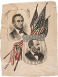 Political:Textile Display (pre-1896), Abraham Lincoln and James A. Garfield: Multicolored Silk Banner....