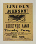 Political:Posters & Broadsides (pre-1896), Abraham Lincoln: Wonderful Pennsylvania Impressive Large Campaign Broadside from 1864....