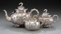 Silver Holloware, Chinese Export:Holloware, A Three-Piece Wang Hing Chinese Export Silver Tea Set with Cherry Blossom and Bamboo Motif, Hong Kong and Canton, China, lat... (Total: 3 Items)