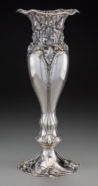 An American Art Nouveau Silver Vase Attributed to Redlich & Co., circa 1900 Marks: STERLING, 4213, 20 1/2 IN.&lt...