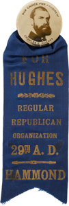 Political:Pinback Buttons (1896-present), Charles Evans Hughes: Large Real Photo Button with Ribbon Attachment. ...
