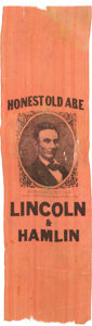 "Political:Ribbons & Badges, Abraham Lincoln: Desirable ""Honest Old Abe"" Ribbon...."
