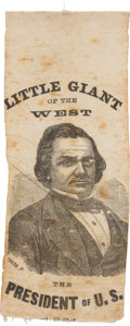 "Political:Ribbons & Badges, Stephen A. Douglas: ""Little Giant"" Portrait Ribbon...."