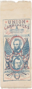 Political:Ribbons & Badges, Lincoln & Johnson: An Enormously Important 1864 Jugate SilkCampaign Ribbon. ...