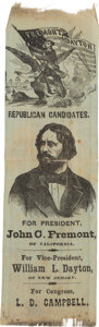 Political:Ribbons & Badges, John C. Frémont: Dual-Portrait Ribbon with Ohio Coattail Candidate....