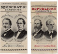 Political:Ribbons & Badges, Hayes & Wheeler and Tilden & Hendricks: Pair of Woven Silk Jugate Ribbons....