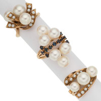Cultured Pearl, Seed Pearl, Sapphire Gold Rings