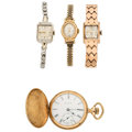 Estate Jewelry:Watches, Diamond, Gold, Gold-Filled Watch Lot. ... (Total: 4 Items)