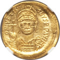 Ancients:Byzantine, Ancients: Justinian I (AD 527-565). AV solidus (3.92 gm). NGC MS5/5 - 2/5, crimped, clipped....