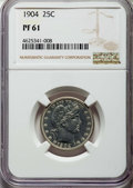 Proof Barber Quarters: , 1904 25C PR61 NGC. NGC Census: (5/234). PCGS Population: (13/241). PR61. Mintage 670. ...