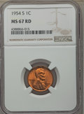 Lincoln Cents: , 1954-S 1C MS67 Red NGC. NGC Census: (805/0). PCGS Population: (295/0). CDN: $85 Whsle. Bid for problem-free NGC/PCGS MS67. ...