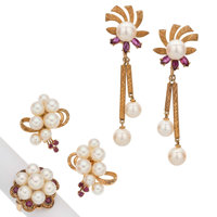 Cultured Pearl, Ruby, Gold Jewelry