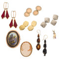 Estate Jewelry:Lots, Multi-Stone, Diamond, Shell Cameo, Painted Portrait, Plastic, Gold Jewelry. ... (Total: 8 Items)