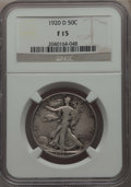 Walking Liberty Half Dollars: , 1920-D 50C Fine 15 NGC. NGC Census: (22/283). PCGS Population: (75/595). Mintage 1,551,000. ...